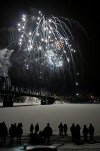 Fireworks above river