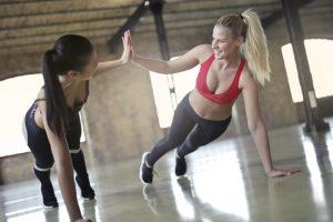 Two girls training