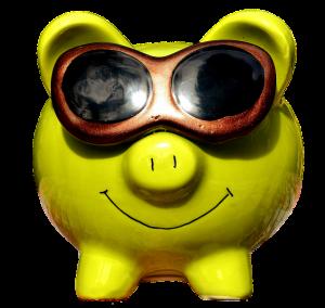 A yellow piggy bank