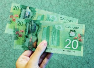Two 20 Canadian dollar bills
