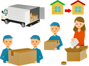 a cartoon drawing of a relocation process.