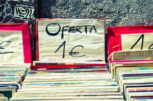 Records priced 1 euro at a garage sale