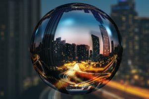 A look at Toronto through a glass ball.
