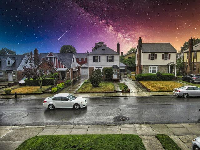 Rainy suburban street