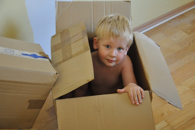 Moving boxes can be the best toys for children.