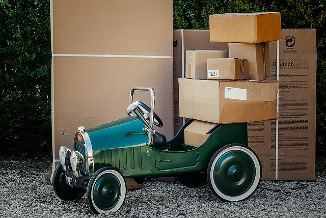 A car with moving boxes.