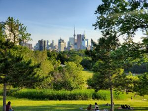 Downtown Toronto viewed from Riverdale Park. Riverdale is among the best Toronto neighborhoods for USA ex-pats.