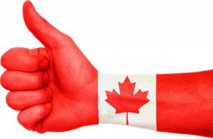 Canadian flag on a hand.