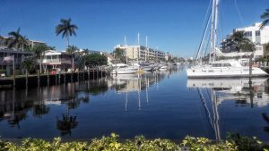 A canal with yachts in Fort Lauderdale
